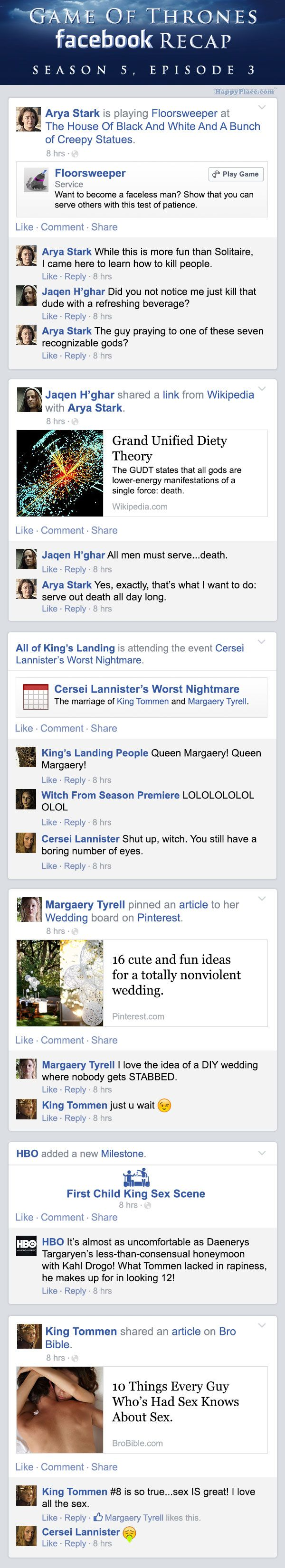 If Game of Thrones took place entirely on Facebook — Season 5