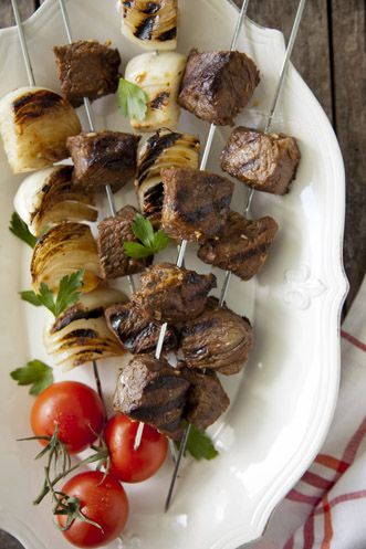 Paula Deen Grilled Boneless Sirloin and Vidalia Onion Skewers