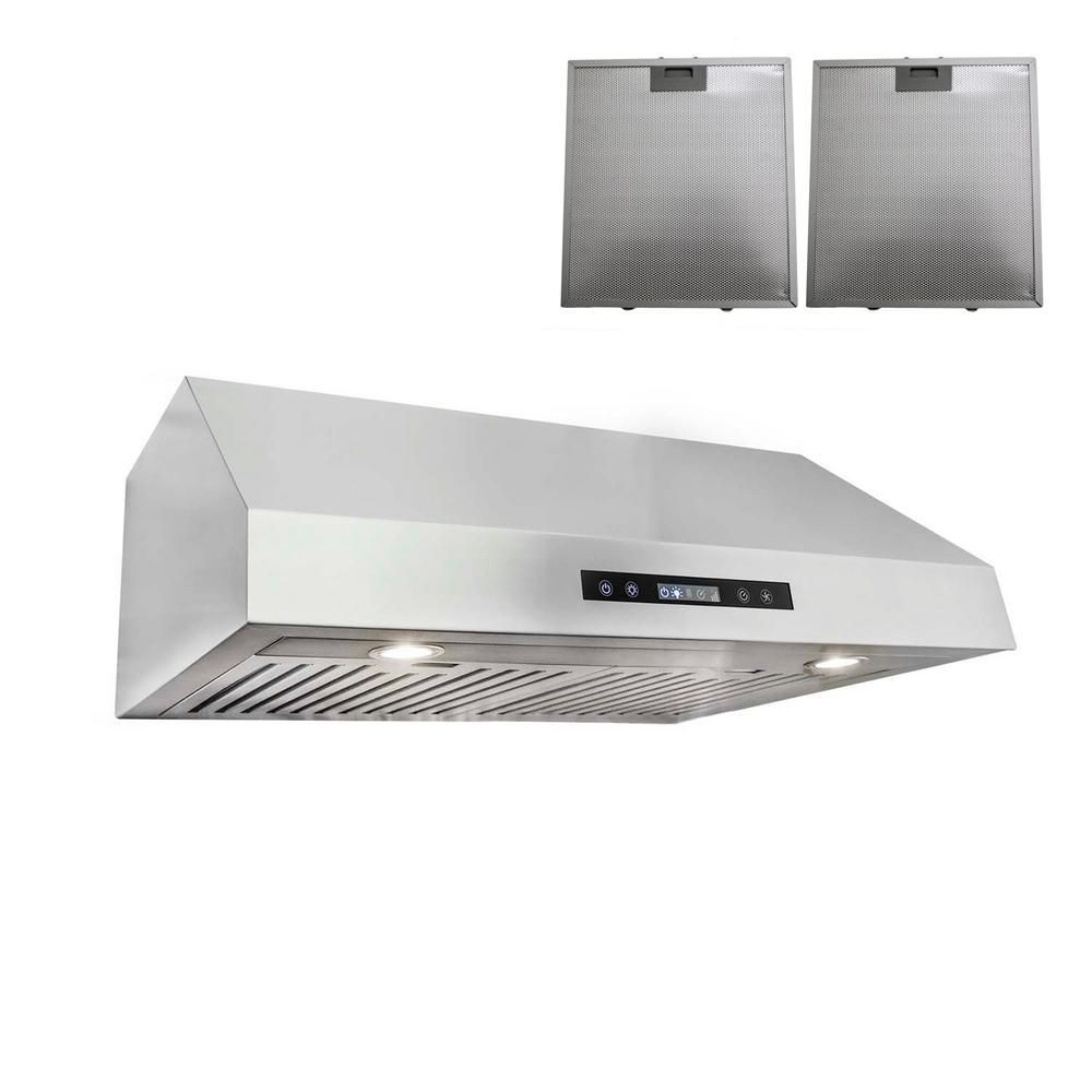 Cosmo 30 In Ductless Under Cabinet Range Hood In Stainless Steel Silver With Halogen Lighting And Reci Halogen Lighting Under Cabinet Range Hoods Range Hood