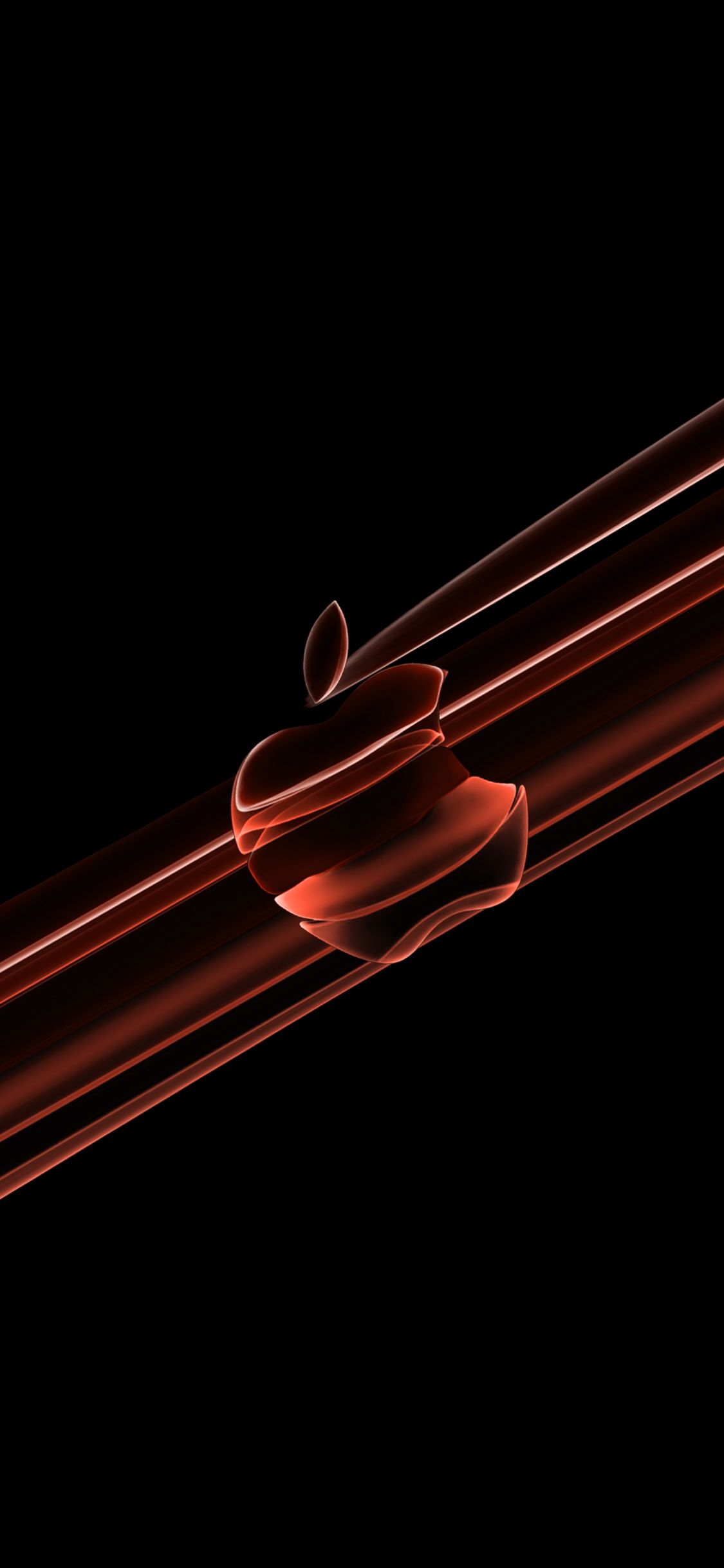 iphonewallpaper apple applelogo IOS13 coral darkmode