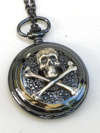 Steampunk  SKULL and CROSSBONES Pocket Watch  by GlazedBlackCherry, $54.99
