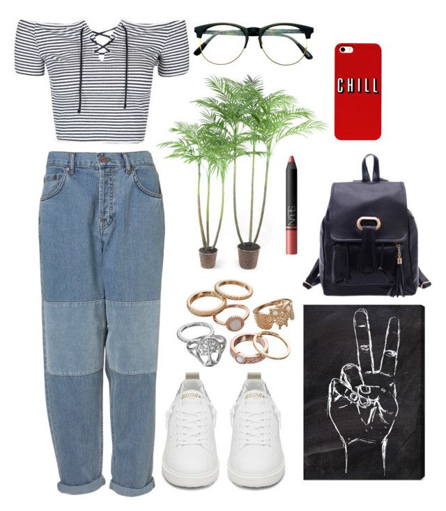 """""""Untitled #686"""" by pearlrauch ❤ liked on Polyvore featuring Topshop, Golden Goose, Mudd, Oliver Gal Artist Co., NARS Cosmetics and Retrò"""