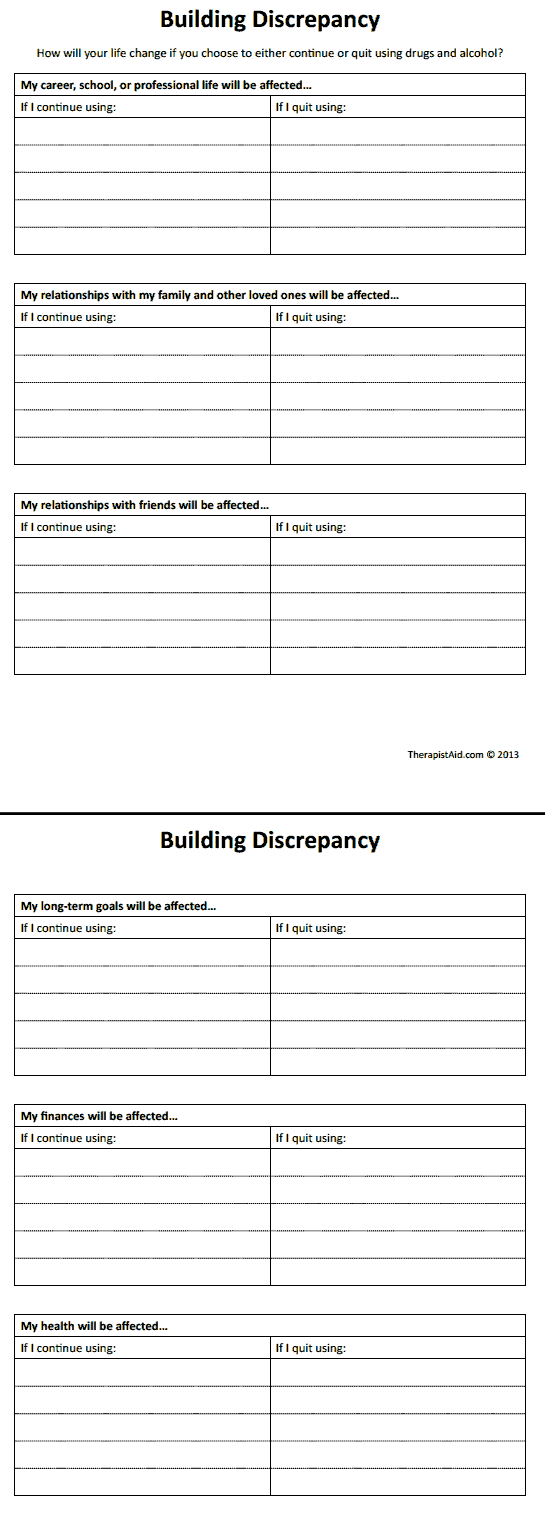 Workbooks substance abuse recovery worksheets : Building Discrepancy. This could be used for any pattern by ...