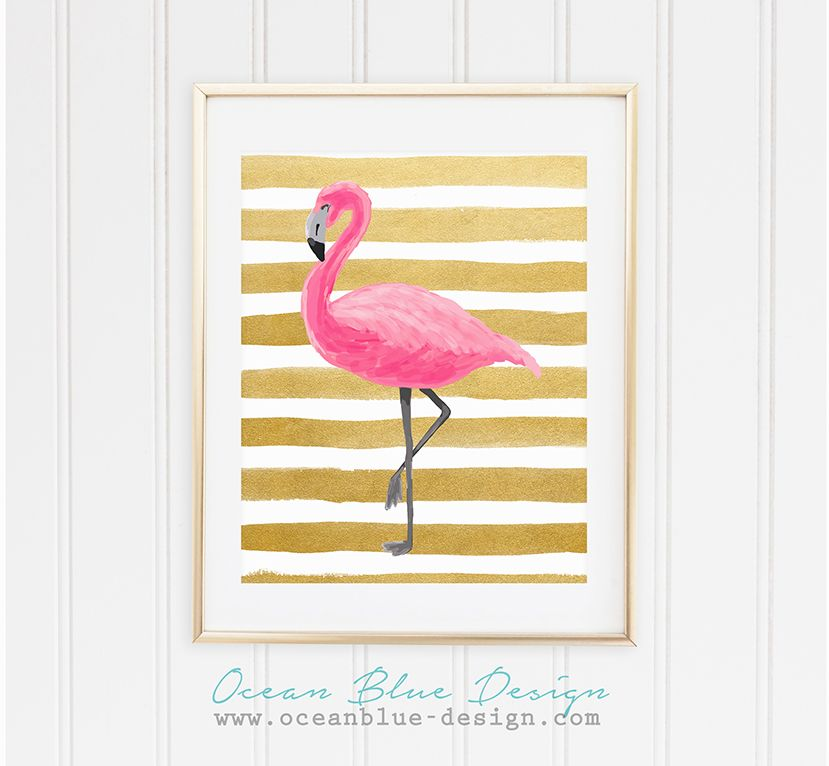 Tropical Paradise Collection – Pink Flamingo Watercolor on Gold ...