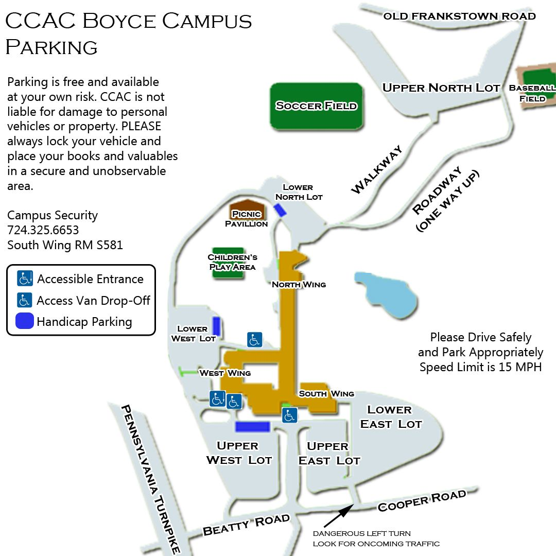 Ccac Allegheny Campus Map CCAC Boyce Campus Parking Map | Campus map