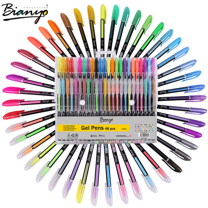 Stationery Craft Quality World Office Supplies Directly From China Marker Cones Suppliers Bianyo 48pcs Gel Pen Set Refills Metallic