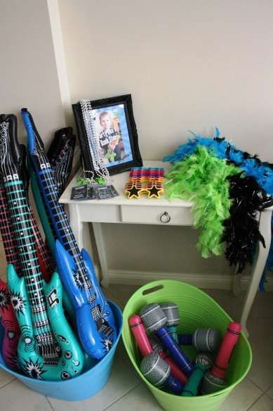 Rock Star Dress up Station, Rock Star Guitar Birthday Party Ideas | Photo 7 of 17 | Catch My Party #rockstarparty