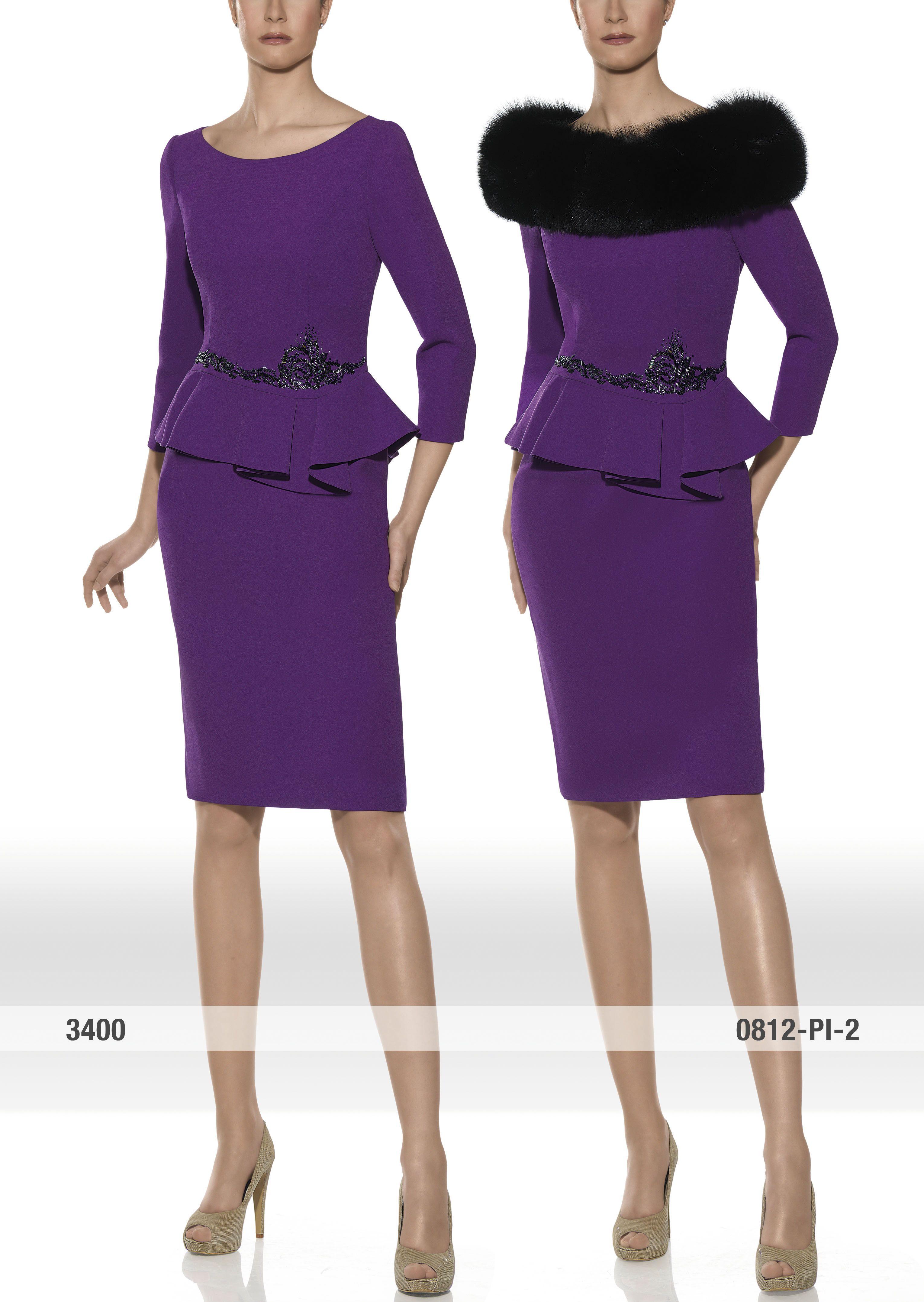 traje de madrina con estola de piel modelo 3400 | Teresa Ripoll ...