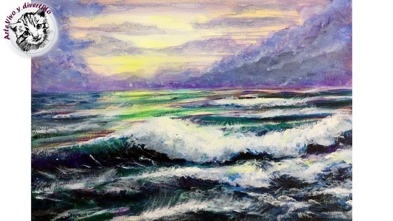 Como Pintar Olas Y Mar Más Vivos Con Acrílico Paso A Paso Como Pintar Pintar Trucos De Pintura