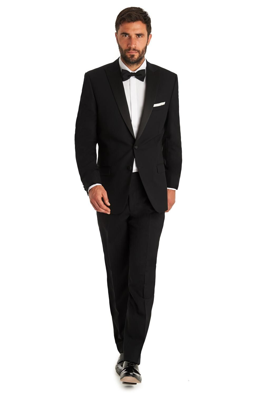 Formal Black Groom Tuxedos With Bow Tie Peaked Lapel