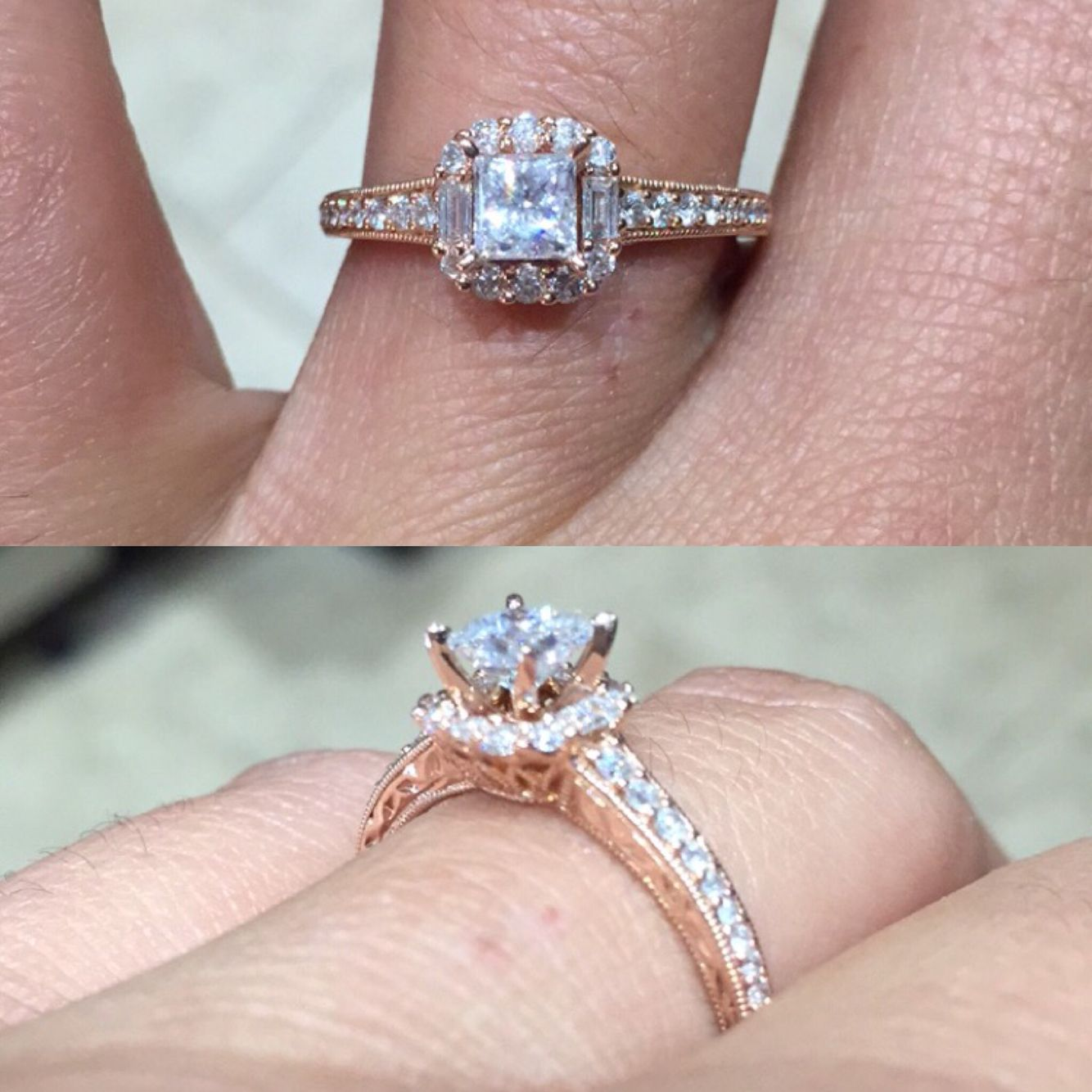 Rose gold engagement ring 3/4 carat princess cut Center stone ...