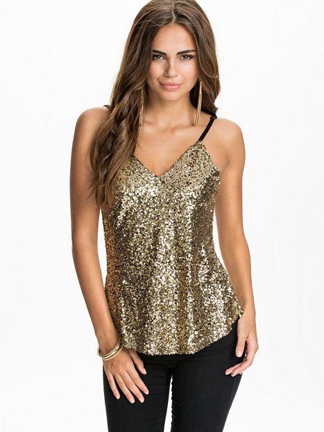 1e150ce33bf Sequin Cami Top - Club L Essentials - Gold - Tops - Clothing - Women -  Nelly.com Uk