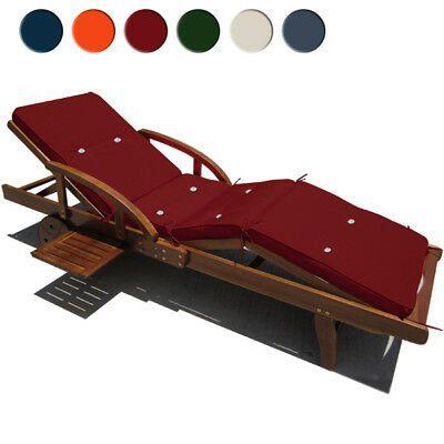Coussin Pour Transat Chaise Longue De Jardin 195cm Rembourre Hydrofuge 8 Boutons