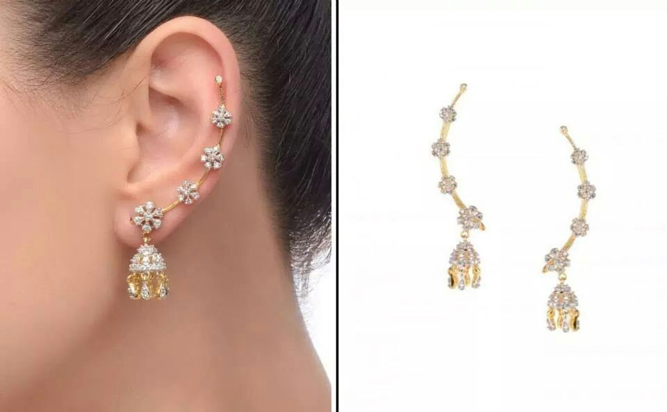 Hospitable Traditional Designer Goldtone Cz Stone Jhumka Earring Women Party Jewellery Bridal & Wedding Party Jewelry