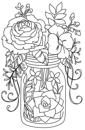 Kaleidoscope Blooms Mason Jar Coloring Pages Flower Coloring Pages Colorful Drawings