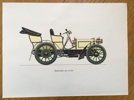 MERCEDES 1900 – classic car print – original vintage lithograph printed in the 1960's – collectable automobile – antique restored autos