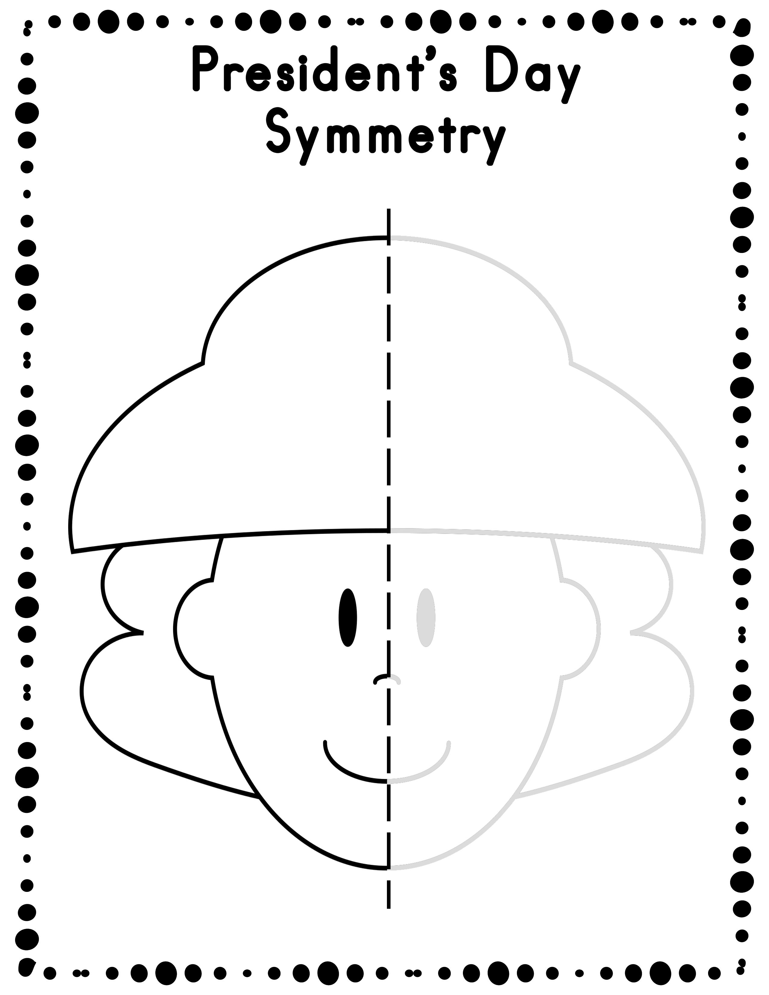 President\'s Day Symmetry Drawing Activity for Art and Math