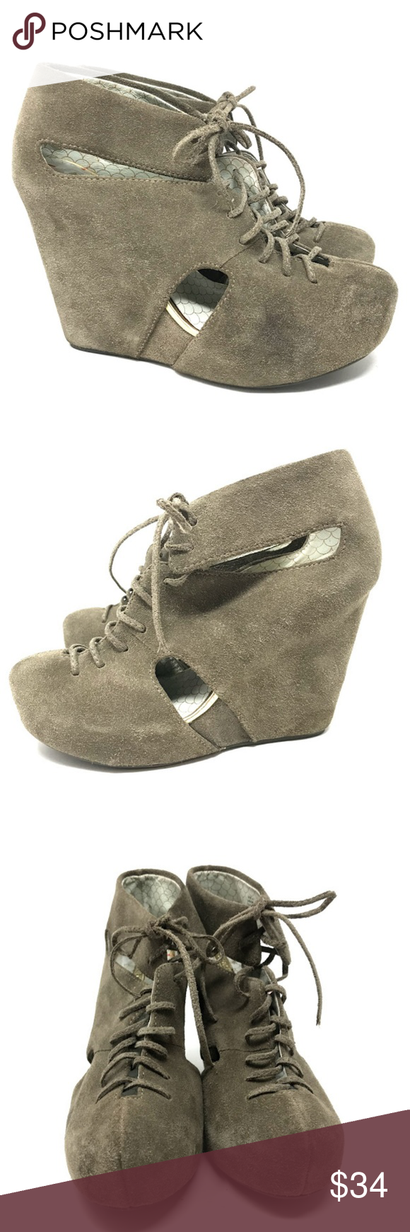 Urban Outfitters Matiko Cutout Wedge Boot 6.5 Urban Outfitters Matiko Suede Booties 6.5 Cutout Detail Wrapped/Covered Platform Wedge Heel Lace Up Leather Boot   090618-MS Urban Outfitters Shoes Ankle Boots & Booties
