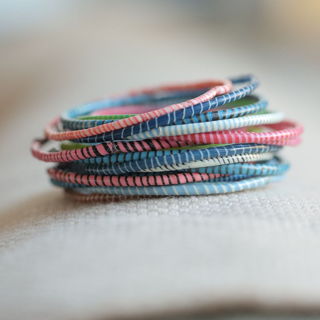 flip flop bracelets set of 14 classic mixed colors made in Mali from recycled flip flops