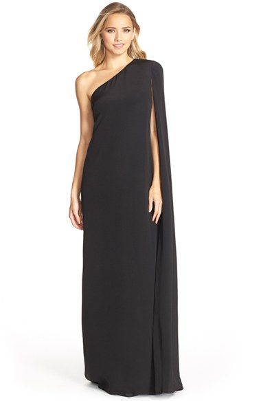 Free Shipping And Returns On Jill Stuart Cape Sleeve Crepe Gown At Nordstrom Dramatic Inspired D Over This One Shoulder Creates A