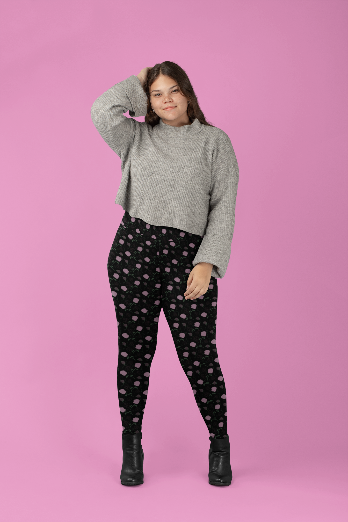 Photo of Plus Size Pink Rose Patterned Leggings-Workout-Yoga-Curvy-Plus Size Fashion-Body Positive
