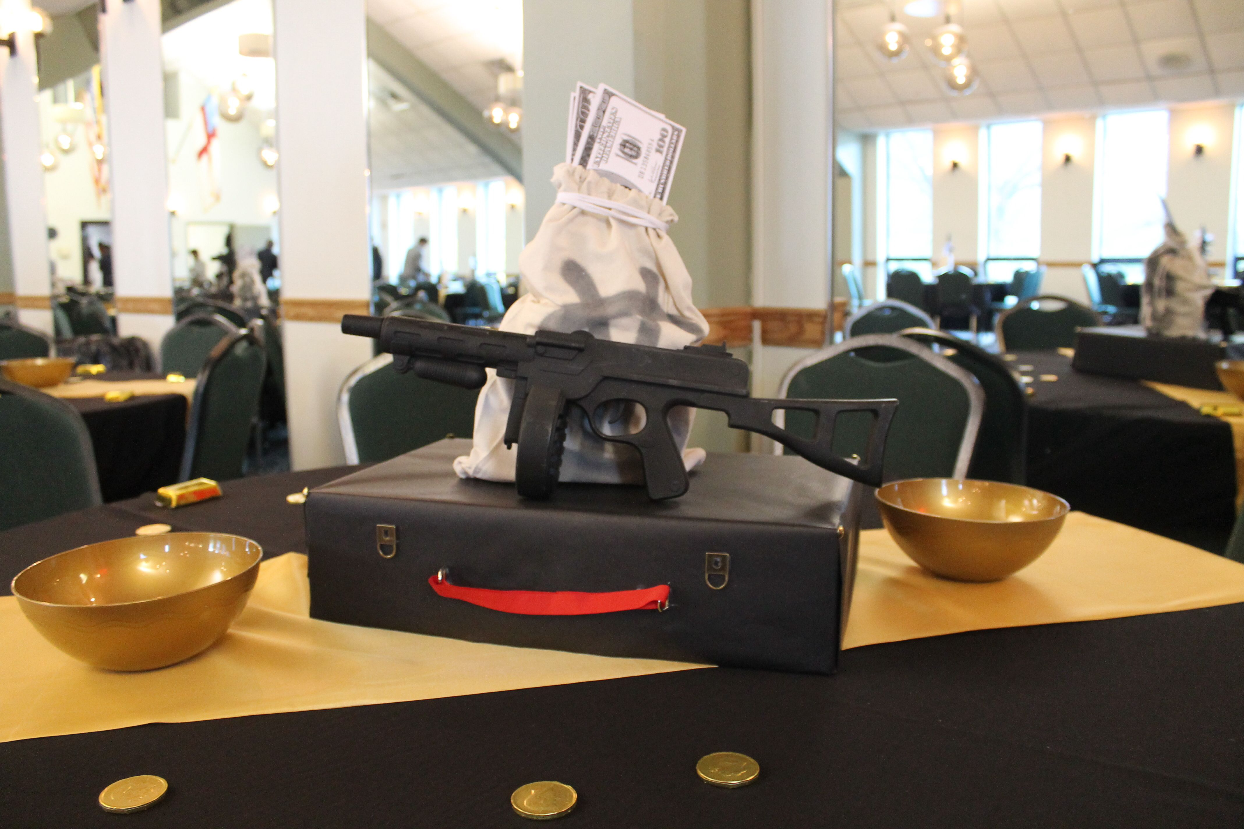 Mobster Gangster Themed Centerpieces Tommy Gun Money Bag Briefcase MC Creations
