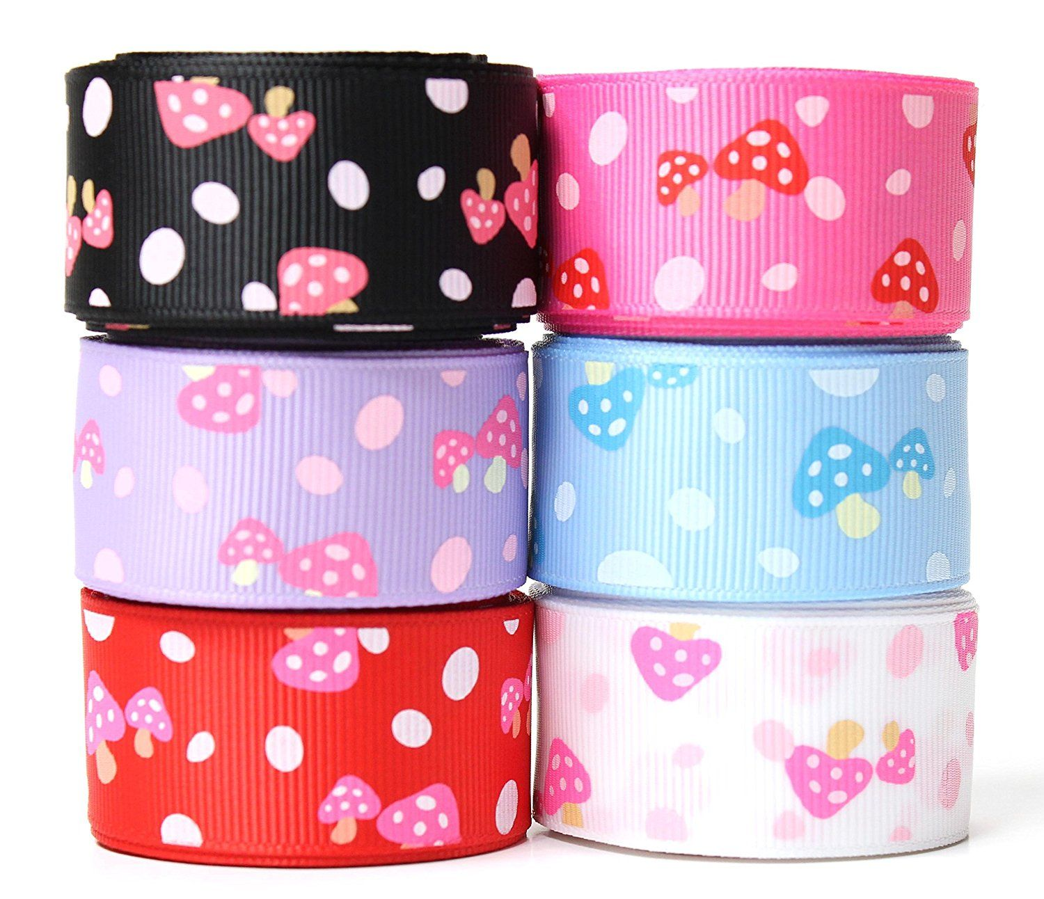 Accufashion 1 Inch 6 colors 30Yds (6×5yds) Mushroom Grosgrain Ribbon Combo >>> Check out the image by visiting the link.