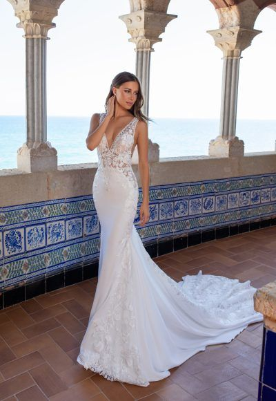 Off-the-shoulder sweetheart neckline a-line lace wedding dress with sheer corset bodice | Kleinfeld Bridal