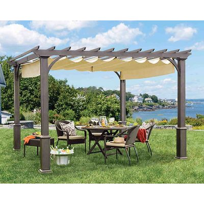 Living Home Outdoors 10 X 10 Pergola With Sunbrella Shades Modern Pergola Pergola Pergola Attached To House