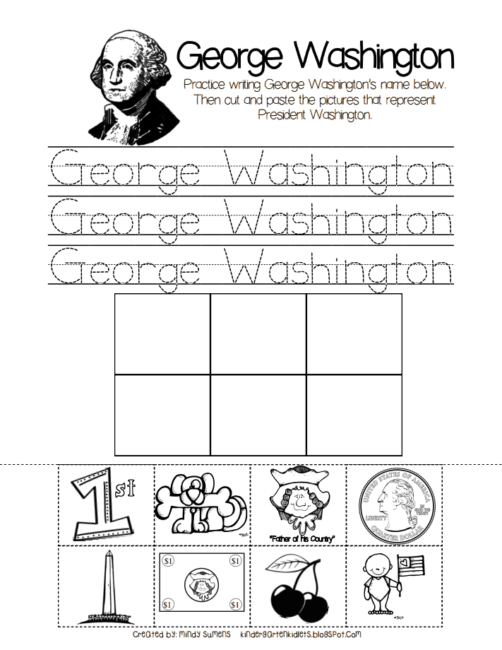 Kindergarten George Washington cut and paste | Kindergarten Ideas ...