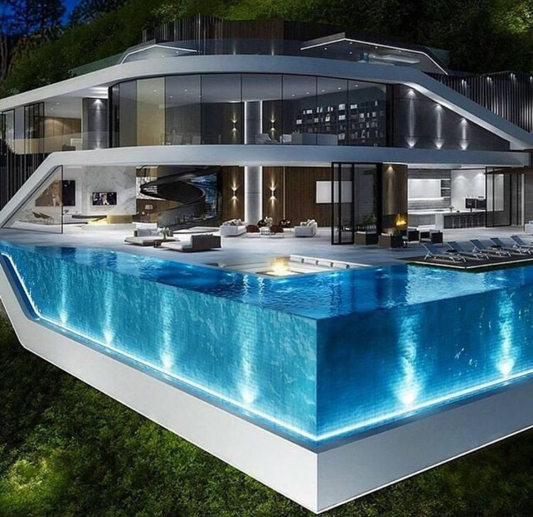 Swimming Pool With Modern Design Beautiful Cool Unique And Awesome Highly Recommended For You To Find Th Luxury Homes Dream Houses Modern Mansion Mansions