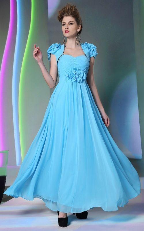 美しいブルーデザイン☆ キャップスリーブロングドレス♪ - ロングドレス・パーティードレスはGN 演奏会や結婚式に大活躍!