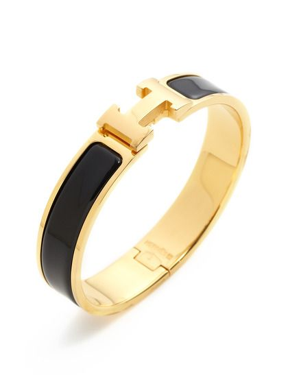 6451d69c4d1 Hermes Clic-Clac H Black Narrow Enamel Bracelet PM by Hermès