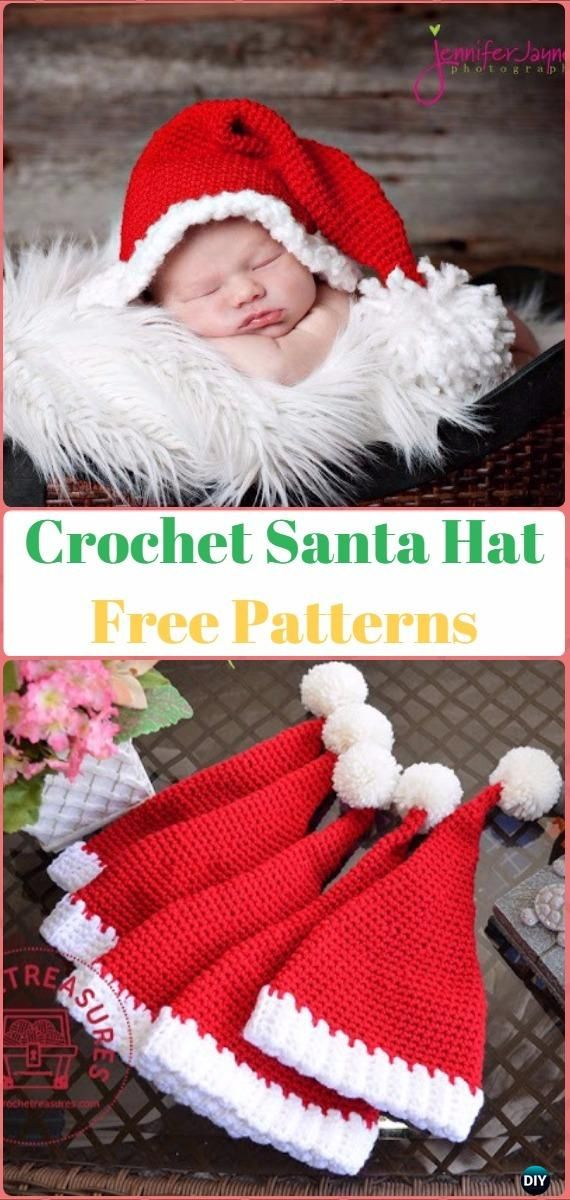 Crochet Christmas Hat Gifts Free Patterns Tutorials | Sombreros de ...