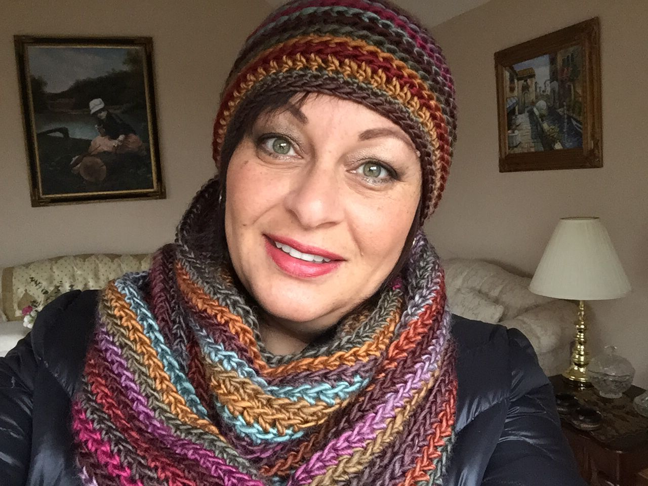 Infinity Scarf And Matching Hat Lion Brand Yarn Landscape In Desert