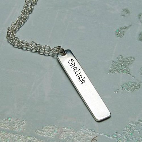 Personalized Silver Vertical Bar Necklace With Name Pix - Photo Edit Online