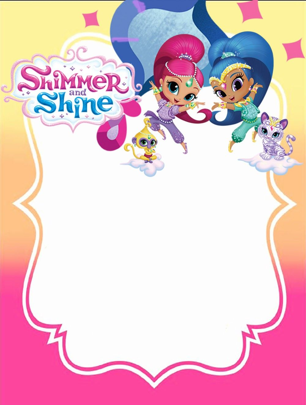 Free Printable Shimmer And Shine Invitation Card Convite De