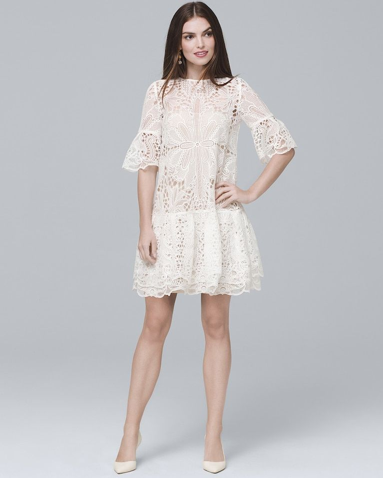4521f9a08b1 Women s ML Monique Lhuillier White Bell-Sleeve Lace Shift Dress by White  House Black Market