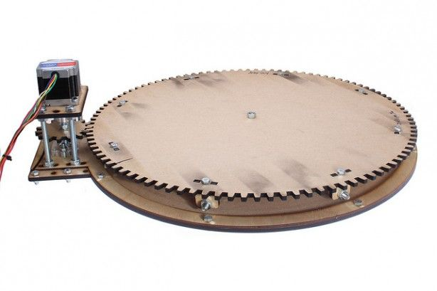 Lasercut motorized turntable for 360 degree object photography for Motorized turntable heavy duty