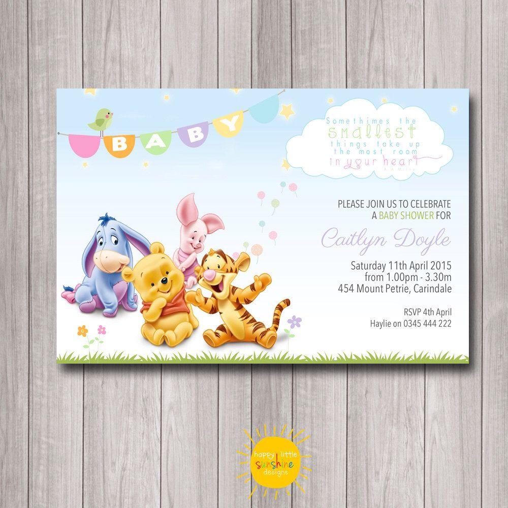 Printable Custom Baby Shower Invitation Winnie the Pooh Neutral, Boy ...