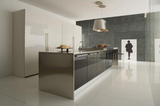 Cuisine Armony Blanche, plan de travail inox, style industriel ...
