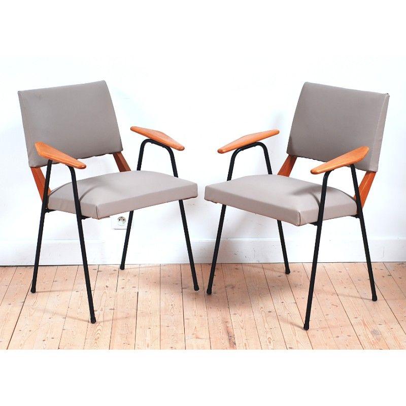 Chaise De Bureaux En Metal Noir Bois Et Simili Cuir 1960 Design Market Simili Cuir Chaise Bureau Chaise Cuir