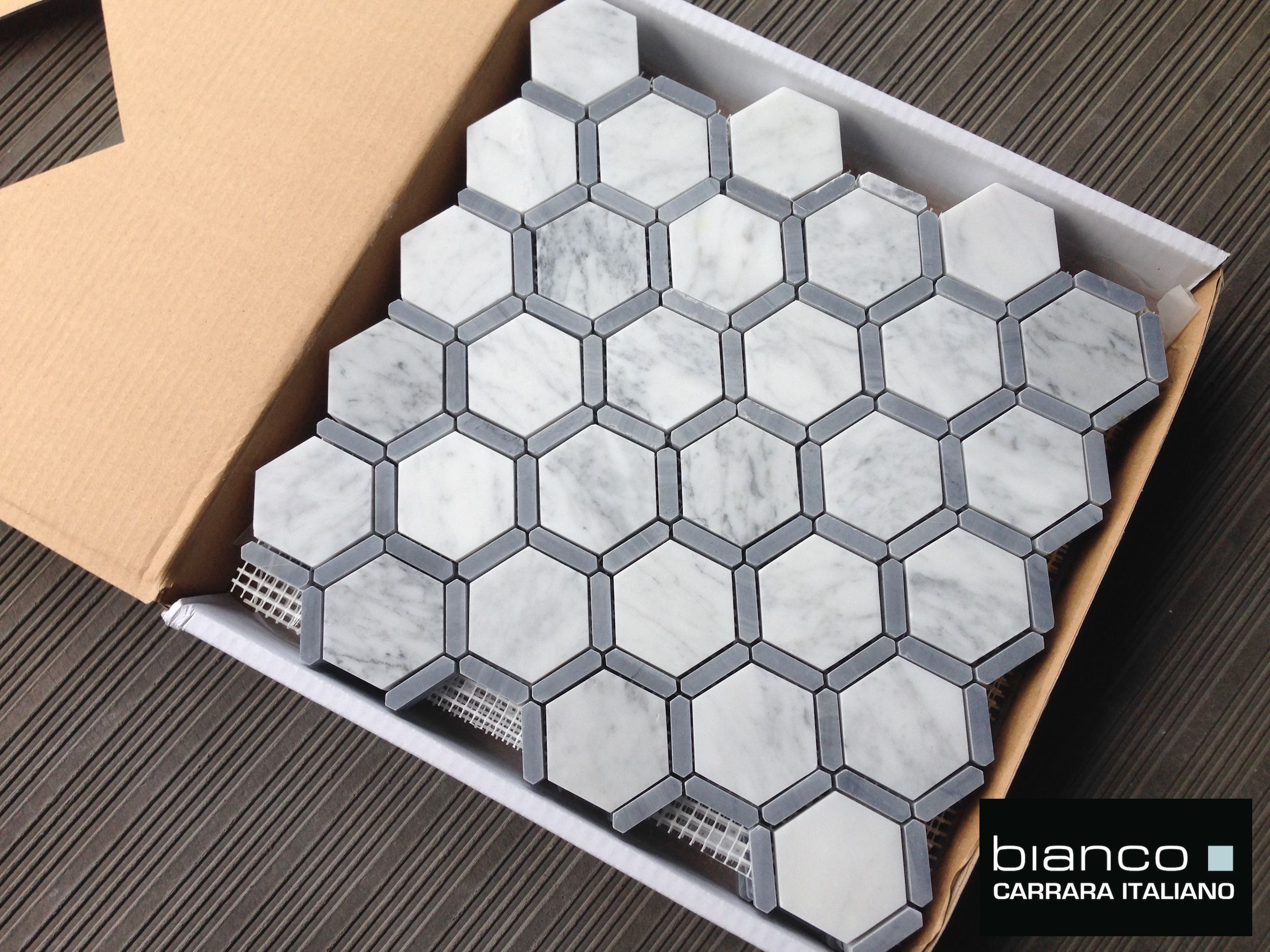 Italian Carrara Hexagon Mosaic With Bardiglio Gray Strip