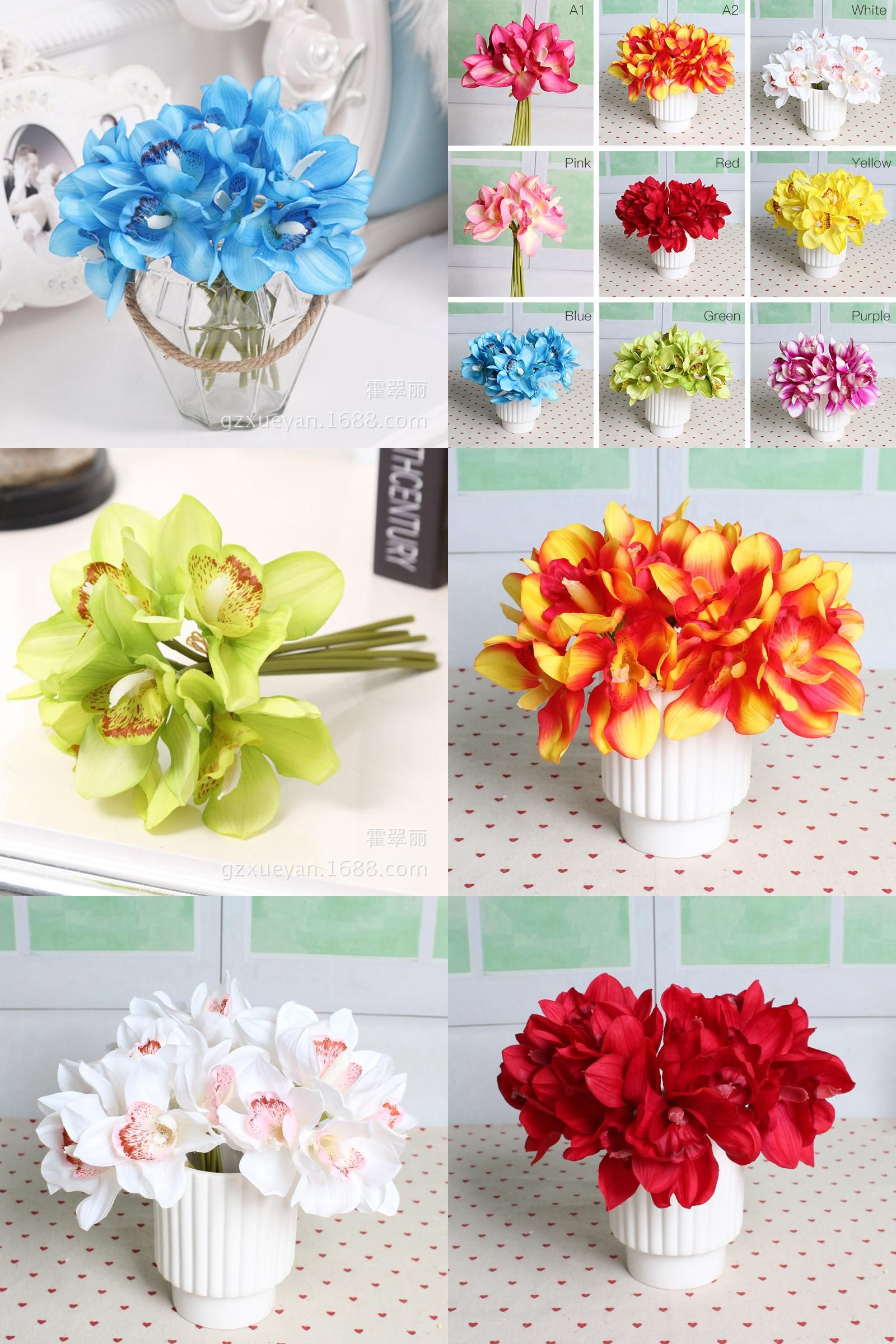 Visit to buy 6 heads real touch cymbidium short shoot table visit to buy 6 heads real touch cymbidium short shoot table decoration artificial orchid flower diy wedding bride hand flowers decor junglespirit Gallery