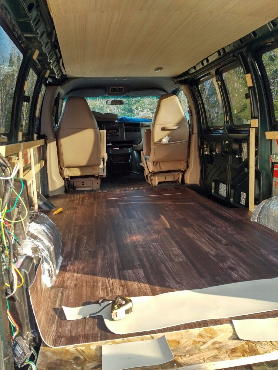 Vinyl Floor For Van Conversion In Our Chevy Express Chevy Van Chevy Conversion Van Van Interior