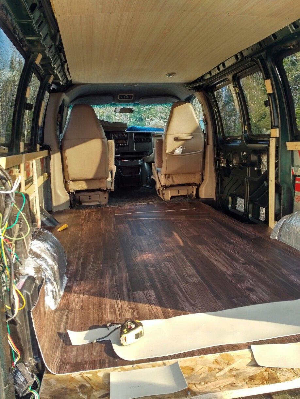 Vinyl Floor For Van Conversion In Our Chevy Express Chevy Van