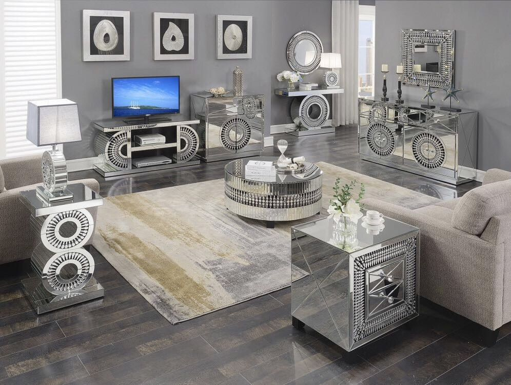 Crystal Mirrored Furniture, Mirrored Living Room Furniture Set