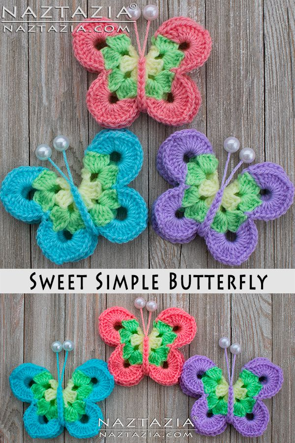 How To Crochet Sweet Simple Butterfly Free Pattern And Youtube Video