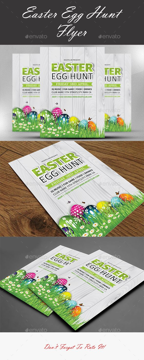 Easter Egg Hunt Flyer Template  Photoshop Psd Kids Print