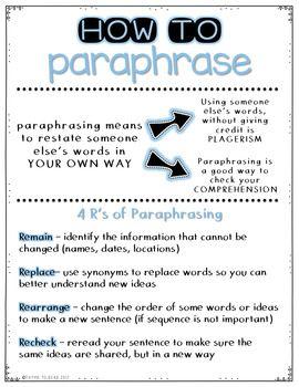 Paraphrasing Practice Freebie Essay Writing Skill College Academic How To Improve Skills